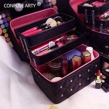 Neceser de maquillaje de alta calidad para mujer, caja de cosméticos, capas plegables informales, estuche de almacenamiento de viaje profesional, Maleta de gran capacidad