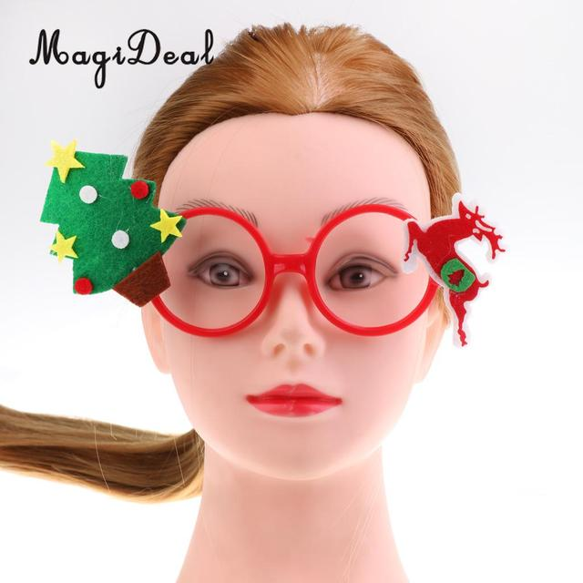 Merry Christmas Felt Fabric Tree Reindeer Deer Glasses Frame Funny ...