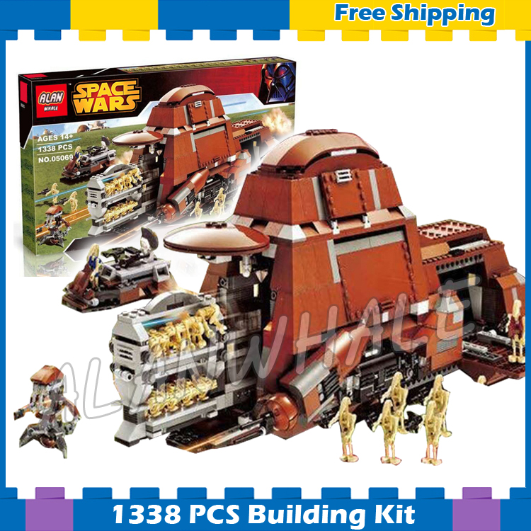 1338pcs New Space Wars Trade Federation MTT 05069 Security Battle Droid Model Building Blocks Sets Gifts Compatible With Lego gonlei 10374 new starwars battle droid troop carrier model building blocks kid toys gifts figure boys compatible with