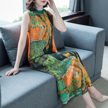 Silk dress female 2019 summer new sleeveless retro print slim vest large size M-3XL high quality elegant fashion vestidos