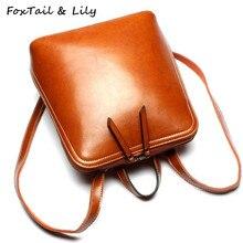 Лисохвост и Лили натуральная кожа женские рюкзак двойной молнии Дизайн дамы сумки на ремне модные школьные сумки для девочек-подростков