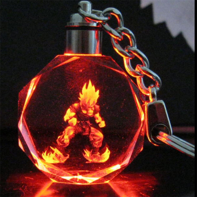 1pcs New Anime Dragon Ball Z Super Saiyajin Son Goku LED Light Crystal Pendant Key Chain Cosplay Accessory