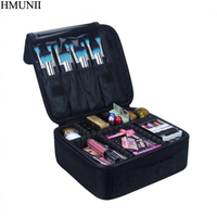 HMUNII Upgraded Version Professional Cosmetic Case Women Travel Waterproof Necessary Beauty Brush Organizer Makeup Bag B1