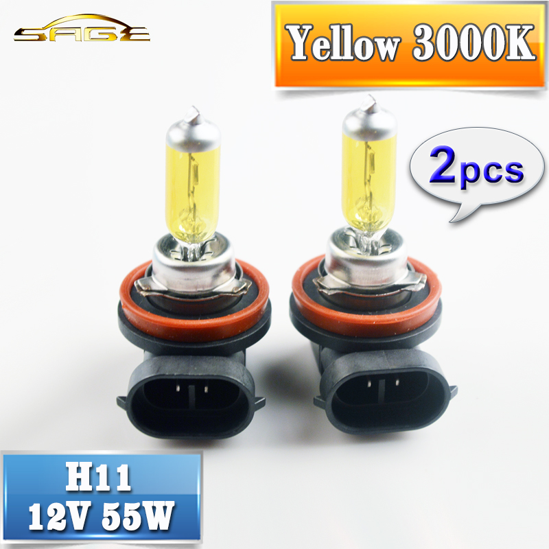flytop H11 Halogen Bulbs Yellow 2PCS 12V 55W 3000K Quartz Glass Auto Lamps PGJ19-2 Car Fog Light