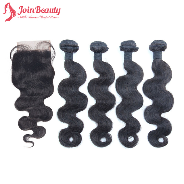 Brazilian Virgin Hair With Closure 4 Bundles With Closure Unprocessed Human Hair Weave Brazilian Body Wave With Closure