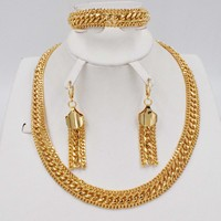 new design Color Metallic Earrings Statement Jewelry Set for Women Female Party Jewelry Sets dubai gold necklace bracelet