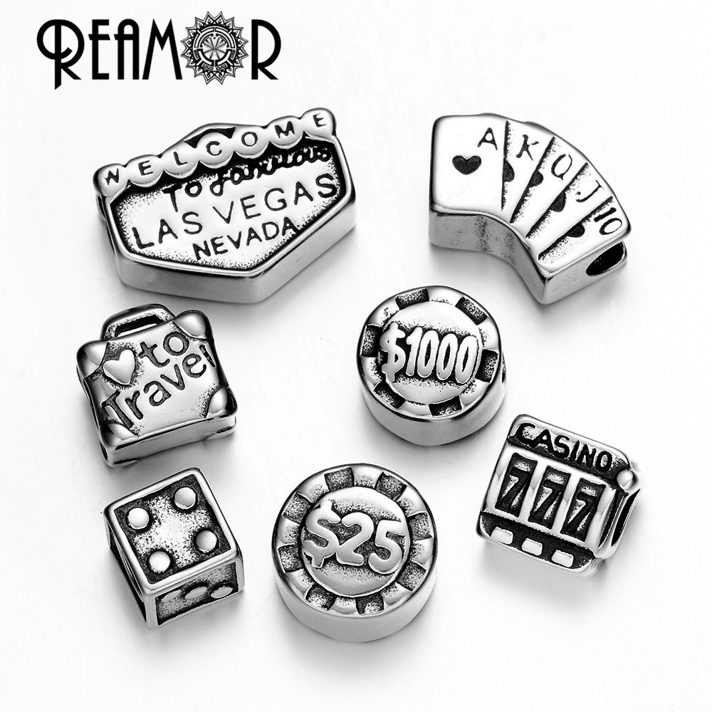 REAMOR Love Travel To Las Vegas Series 316l Stainless Steel Wager Chips & Poker & Dice Charm Bead For Bracelet Jewelry Making