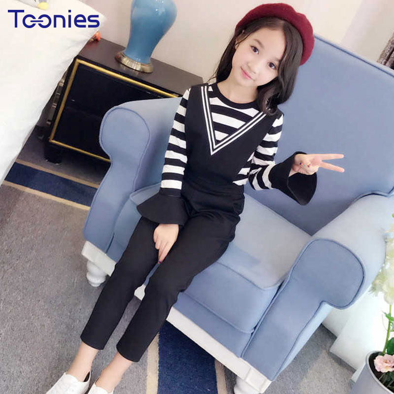 New Arrivals Girls Pants Suit Long Sleeves Girl Clothing Sets High Quality Cotton Children Kids Suit Striped Printed Sportswear