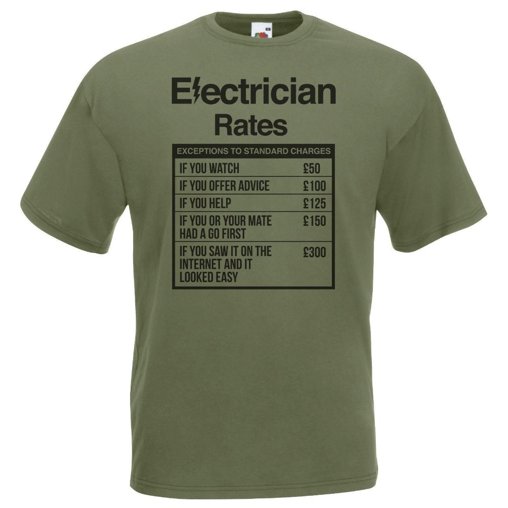 2019 Fashion Hot Mens Olive Electrician Rates T-Shirt Sparky Student TShirt Funny Novelty