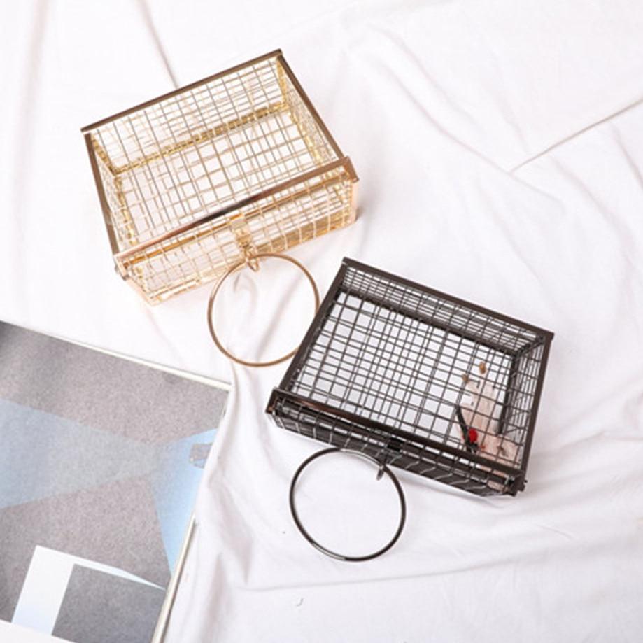 Metal hollow handbag female iron mesh trapezoidal concave shape handbagMetal hollow handbag female iron mesh trapezoidal concave shape handbag