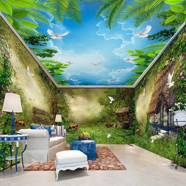 beibehang Fantasy fairy forest hut bird Custom 3D wall mural