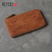 AETOO Head-layer cowhide long wallet leather retro handmade wallet phone bag