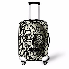 INSTANTARTS 3D Punk Skull Head Printed Luggage Waterproof Covers for 18-30 Inch Travel Suitcase Elastic Thicken Dust Rain Cover