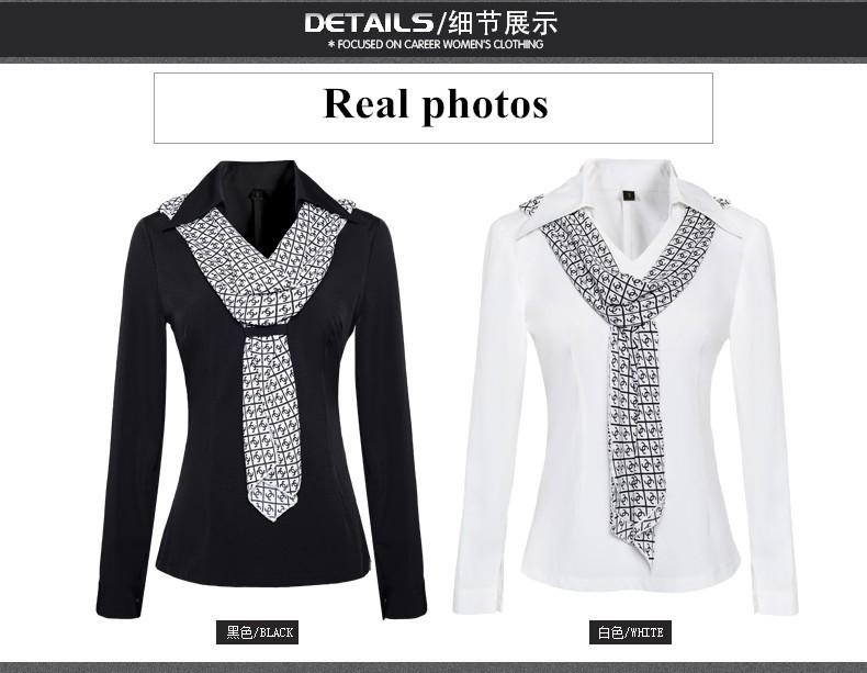 HTB1SFetJpXXXXXYXpXXq6xXFXXXk - Women's shirt slim formal scarf collar long-sleeve blouses