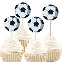 24/48pcs Boys Favors Football Theme Cake Topper Happy Birthday Party Soccer Cupcake Toppers With Sticks Decorate Baby Shower(China)