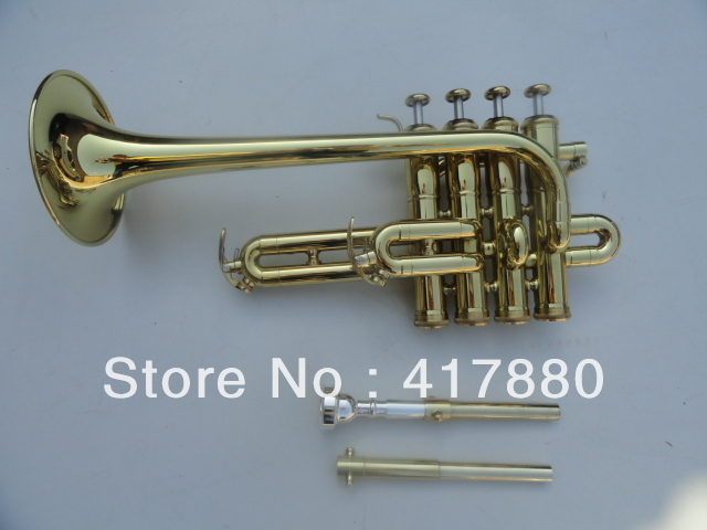 Bach Bb Piccolo Trumpet  Three Tone Trumpete  Monel Piston Surface Gold Lacquer Musical Instruments