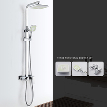 Modern Square 8 Rain Shower Head Top Over-head Sprayer Dual Function ABS Electroplate High Power Set