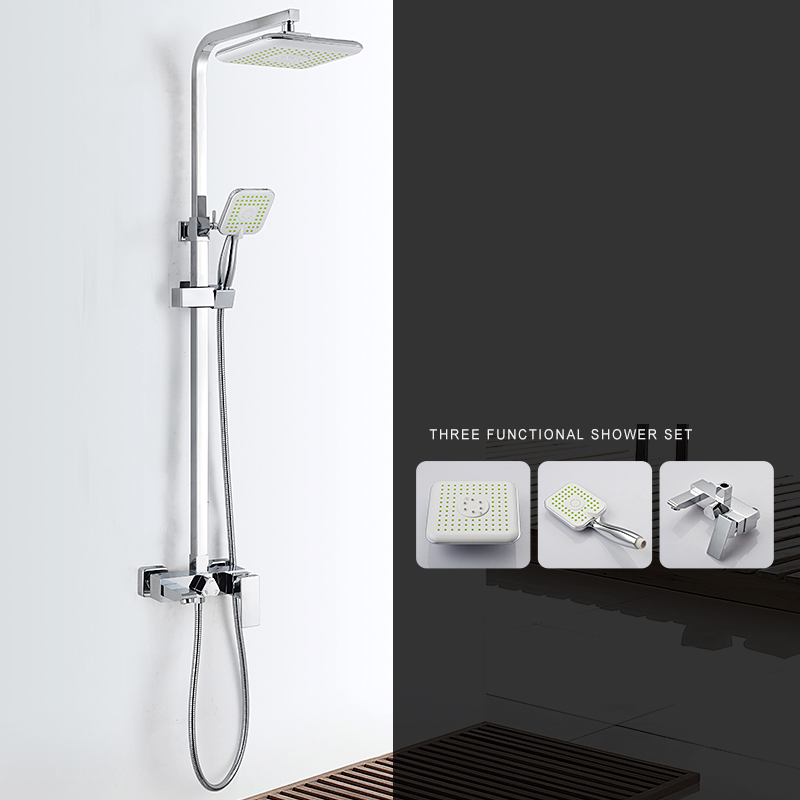 Modern Square 8 Rain Shower Head Top Over-head Shower Sprayer Dual Function Shower ABS Electroplate High Power Shower Head Set