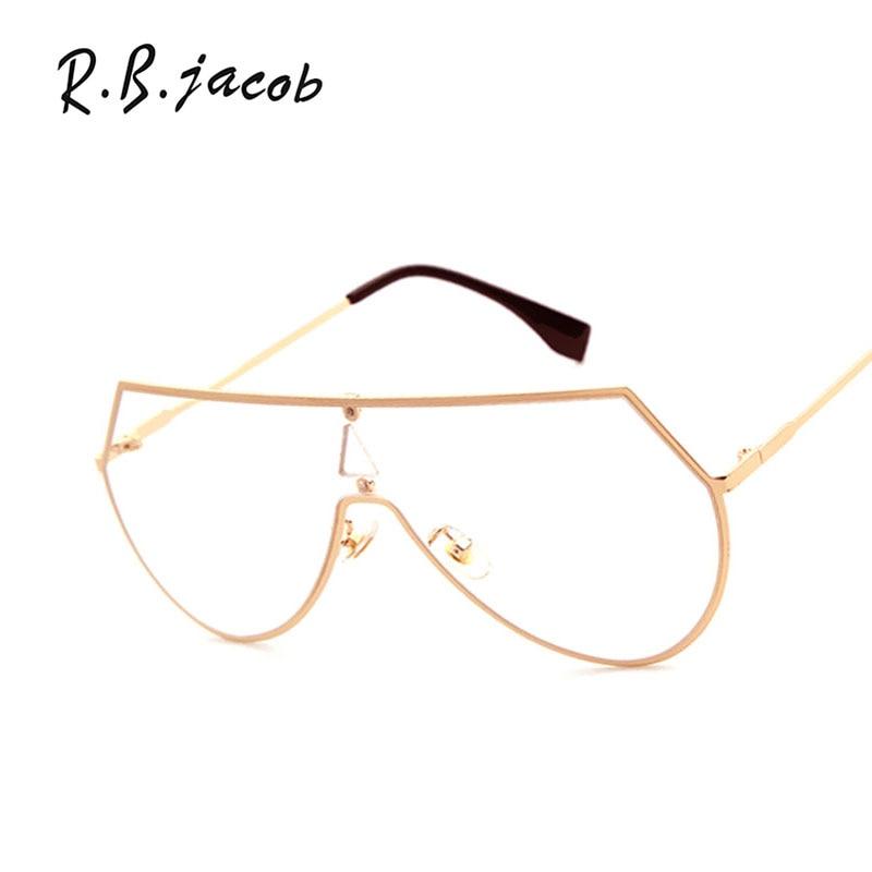 Women Men Mirror Sunglasses Brand Designer Fashion Optics Punk Sun Glasses Vintage Metal Frame Flat Top Hipster Clear lens