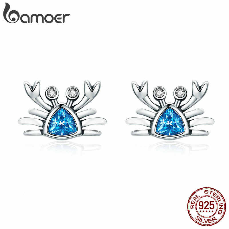 BAMOER 100% 925 Sterling Silver Cute Ocean Crab Small Blue CZ Stud Earrings for Women Fashion Earrings Jewelry Gift S925 SCE413