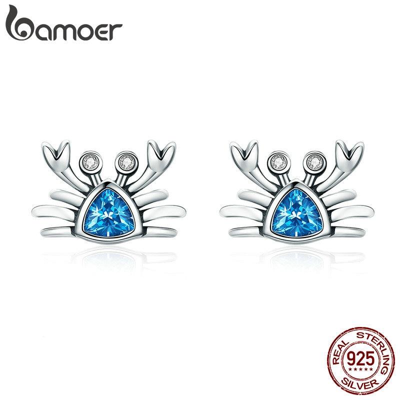 BAMOER 100% 925 Sterling Silver Cute Ocean Crab Small Blue CZ Stud Earrings for Women Fashion Earrings Jewelry Gift S925 SCE413 стоимость