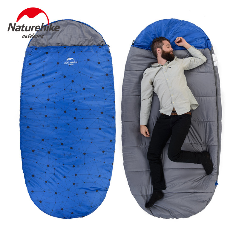 Фотография 130% big space 230cm*100cm Naturehike sleeping bag super large widening sleeping bags for Autumn winter spring