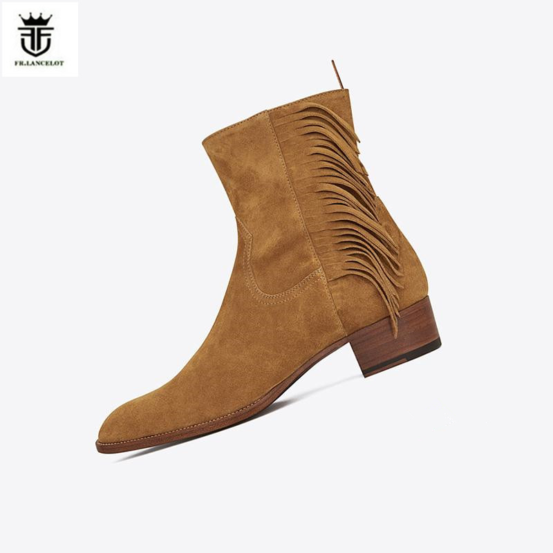 FR.LANCELOT 2018 new Chelsea boots men suede leather boots vintage Style tassel ankle shoes high top zip up men fringe boots цена 2017
