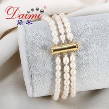 Daimi alta calidad pequeño brazalete de perlas de 3mm blanco pulsera de perlas