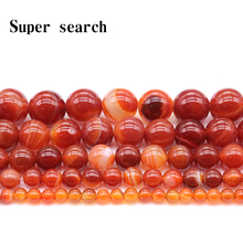 Natural Stone Beads Red Stripe agat Onyx Round Loose 4 6 8 10 12 14mm Fit Diy Space Jewelry Making