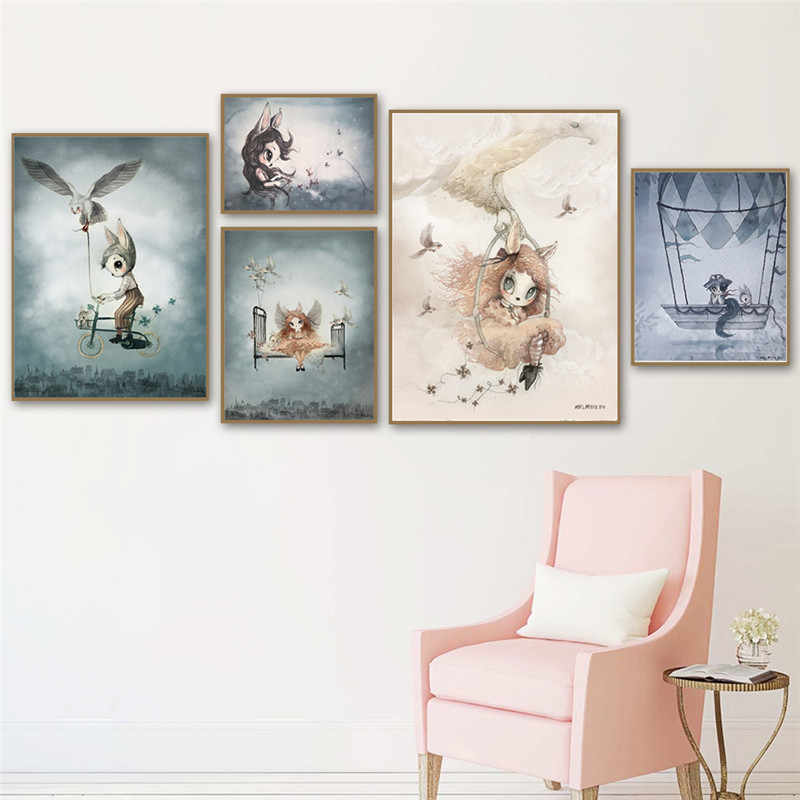 Home Decor Sweet Poster Nordic Canvas Art Painting Wall Art Cartoon Girl Animal Abstract Watercolor Print Kid Bedroom Picture