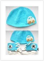 Häkeln Baby Hut und Booties Set,, Blau häkeln turnschuhe tennis booties infant sportschuhe baumwolle Toddle Walker