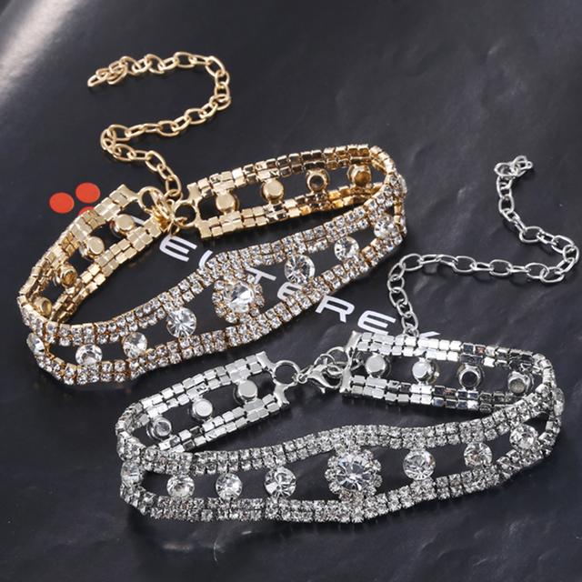 Fashion Zircon Embellished Choker Necklace