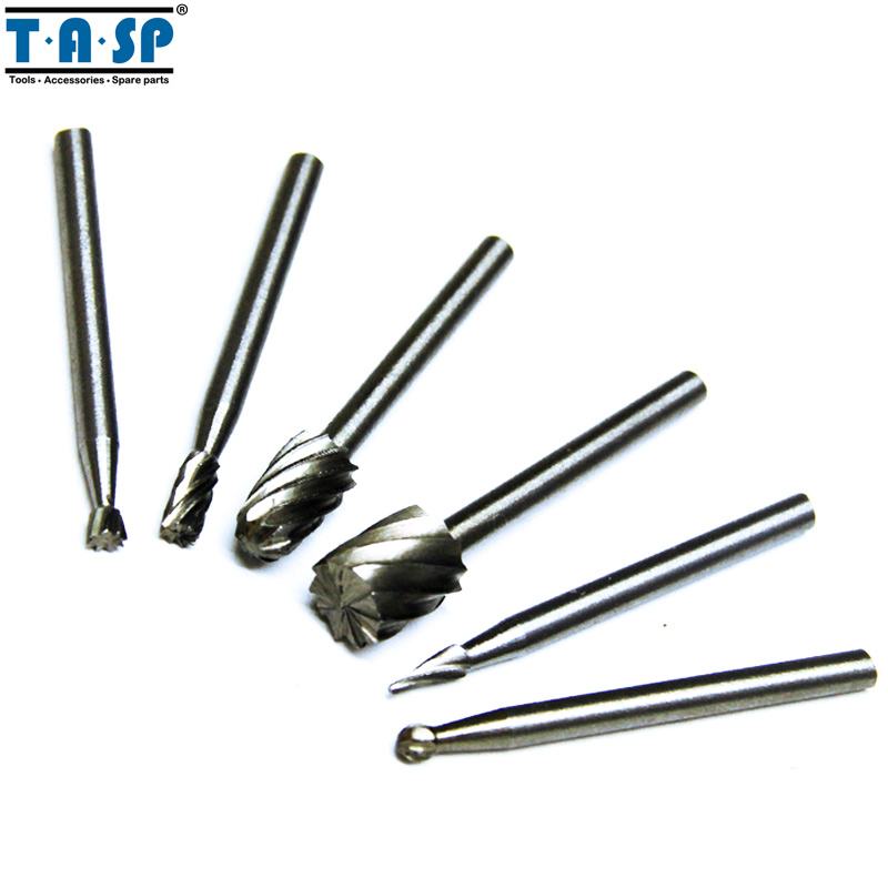 Tasp Hss Rotary Burr Mill Cutter Routing Router Bit 6pc Mini Drill Rotary Tool Accessories Woodworking Metalworking Tools