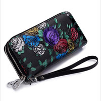 100% genuine leather 2018 new ladies wallet double zipper large capacity purse ladies long leather rose wallet double layer