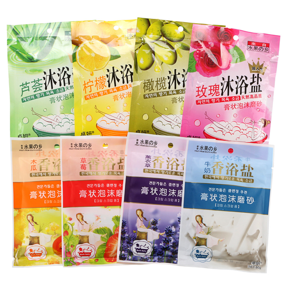 80g Body Relaxing Bath Sea Salts Spa Shower Favors Skin Care 8 Scents Choose