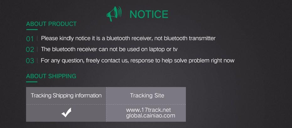 Bluetooth receiver-Notice