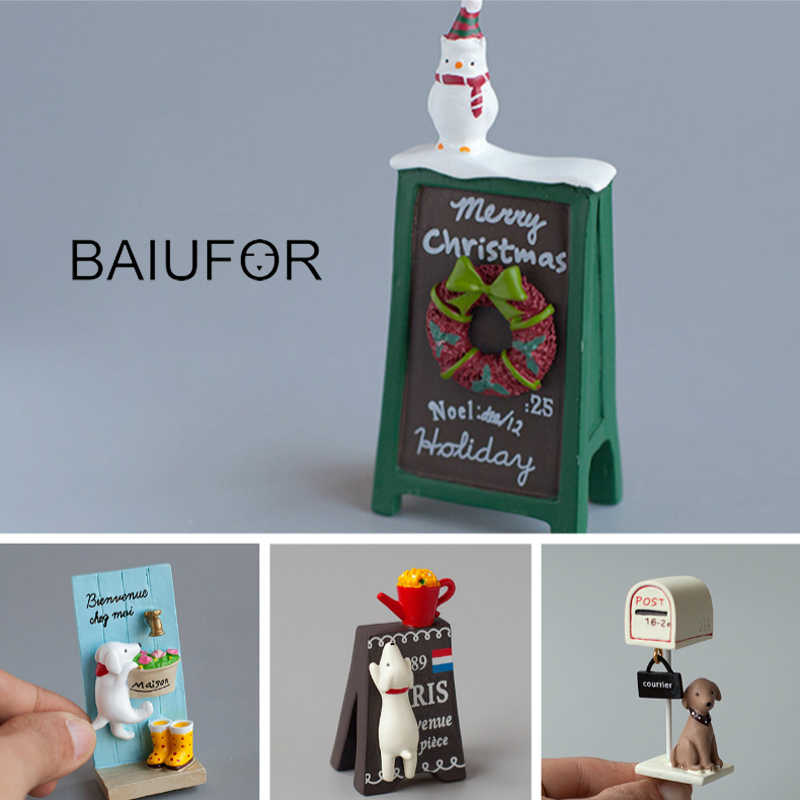 BAIUFOR Miniatures & Figurines Mini Snowmen Christmas Billboards Fairy Garden Miniature Desktop & Car Decor Resin Craft Gifts