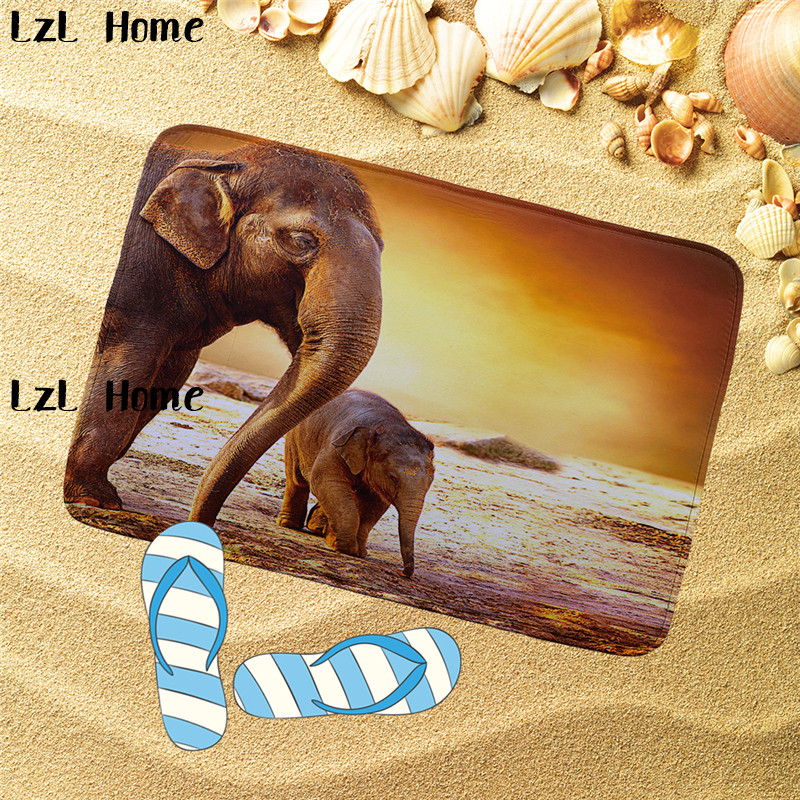 LzL Home Elephant Pattern Bathroom Mats Set Bath Mat Flannel Toilet Mat Non Slip Carpet Mattress Bathroom Decor Tapis De Bain