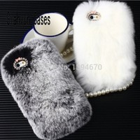 Fashion Bling Hot Pink Soft Rabbit Fur Back Case Cover For Samsung Galaxy S3 Mini I8190