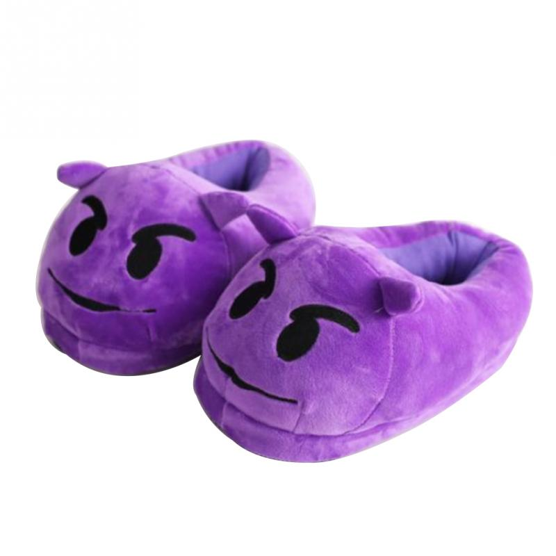 Women Emoji Soft Cute Cartoon Slippers For Home Use Winter Warm Plush Indoor House Slippers For Women Purple Unisex Home Shoes cry emoji cartoon flock flat plush winter indoor slippers women adult unisex furry fluffy rihanna warm home slipper shoes house