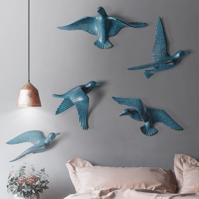 5pcs/set Creative 3D Resin bird Home Decoration decor wall stickers decoration Furnishings The dove of peace for European mascot 4