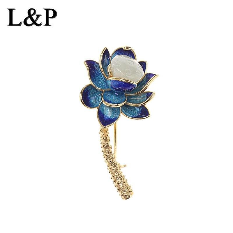 цена на New Arrival Gemstone Lotus Cloisonne Women Vintage 100% 925 Silver Pin Brooch Antique Fine Jewelry Accessory