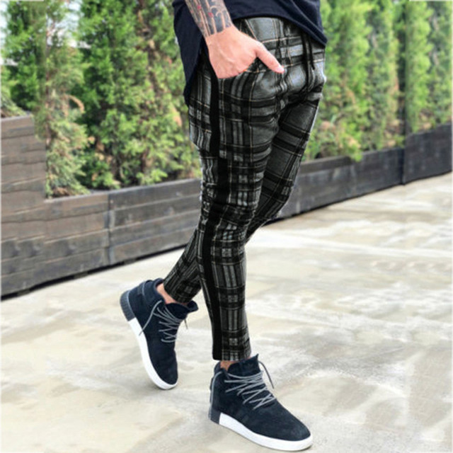 men's trousers Long Casual Sport Pants Slim Fit Plaid Trousers Running Joggers Sweatpants male pants