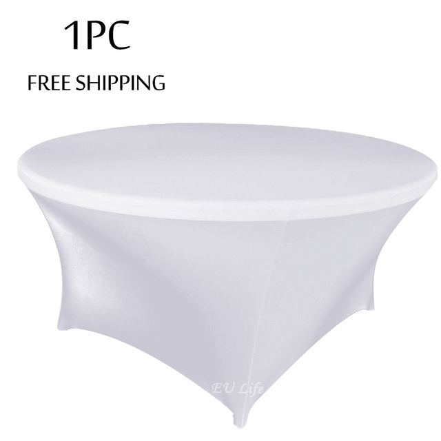 1pc White Spandex Table Cover Fit For 5ft 6ft Round Of Weddings Banquet Event