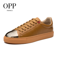 OPP 2018 Stripe Metal Men Shoes Loafers For Men Leather Flats Shoes Casual 4 Seasons Shoes Leather Loafers New Leather footwear