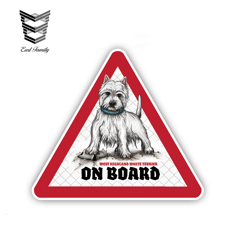 EARLFAMILY 12cm X 10.5cm Westie Dog Car Stickers Dog On Board Decals Pet Dog Decal Dog Warning Sign Humorous Stickers