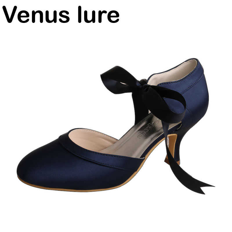 Clearance Women Navy Blue Closed Toe