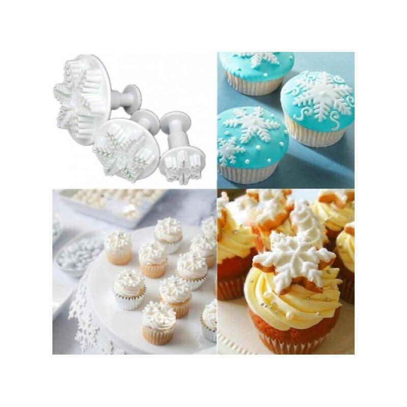 3pcs Snowflake Fondant Cake Decorating Plunger Mold ...