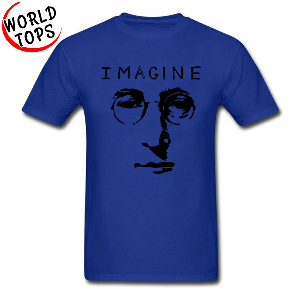 T Shirt John Lennon Imagine NEW YEAR DAY Slim Fit Casual Short Sleeve 100% Cotton Fabric Round Neck Men Tshirts Casual Tee Shirt John Lennon Imagine blue