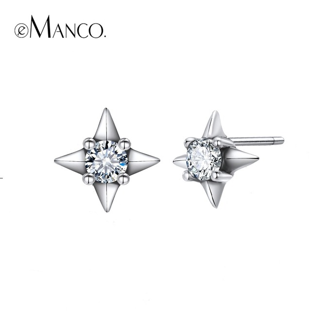 e-Manco 925 Sterling Silver White Zircon Earrings Prevent Allergy Cross Earrings
